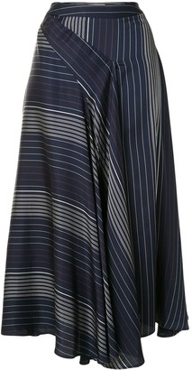 Palmer Harding Striped Bias-Cut Midi Skirt