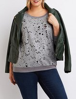 Charlotte Russe Plus Size Burnout French Terry Sweatshirt