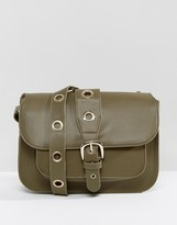 Marc B Saddle Bag With Rivet Detail In Khaki
