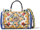 Dolce & Gabbana Sicily Mini Printed Textured-leather Shoulder Bag - White