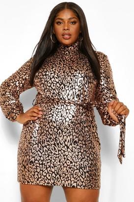 boohoo Plus Sequin Leopard High Neck Shift Dress