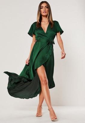 Missguided Satin High Low Wrap Midi Dress