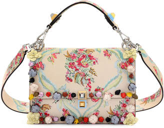 Fendi Kan I Floral Leather Shoulder Bag, Cream