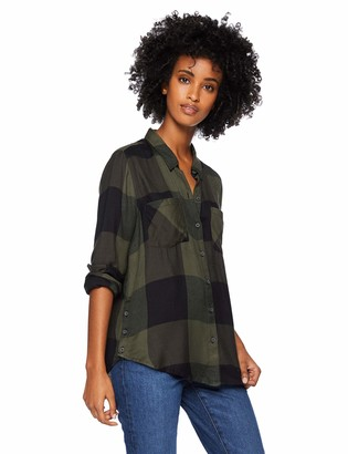 Lucky Brand Women's Button Side Plaid Shirt in Olive Multi S