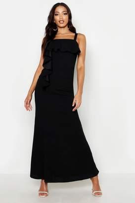 boohoo Square Neck Ruffle Front Maxi Dress
