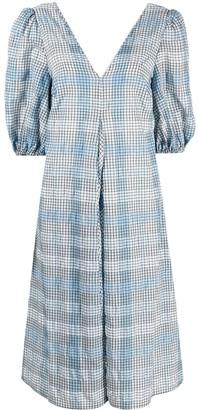 Ganni Seersucker Check Puff-Sleeve Midi-Dress