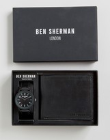 Ben Sherman Black Leather Watch & Wallet Gift Set