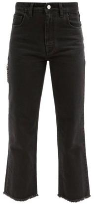 Raf Simons Zipped-pocket Cropped Cotton Jeans - Black