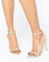 Aldo McKinnons Embellished Barely There Leather Heeled Sandals