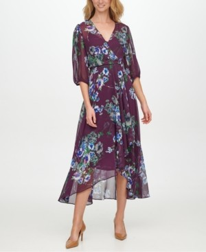 Calvin Klein Balloon-Sleeve Maxi Dress