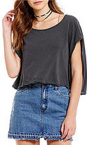 Free People Let It Go Crew Neck Cap Sleeve Knit Tee