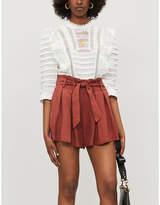 Sandro Paper bag-waist pleated twill shorts
