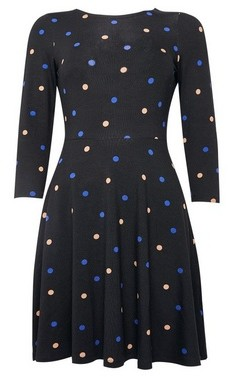 Dorothy Perkins Womens Petite Black Spot Print Jersey Fit And Flare Dress, Black