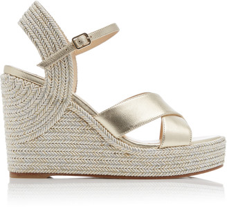 Jimmy Choo Dellena Metallic Leather Wedge Sandals