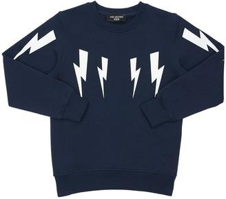 Neil Barrett Lightning Bolt Print Cotton Sweatshirt