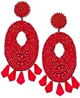Kenneth Jay Lane Ruby Oval Beaded Chandelier Earrings