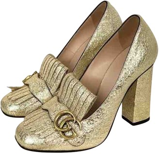Gucci Marmont Gold Patent leather Heels