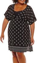 Porto Cruz Geometric Chiffon Swimsuit Cover-Up Dress-Plus