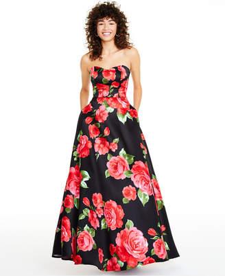 B. Darlin Juniors' Strapless Floral-Print Gown