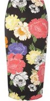Dorothy Perkins Womens **Tall Black Floral Pencil Skirt- Black