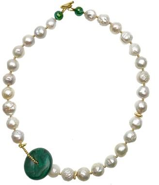 Farra Edison Pearls With Malachite Pendant Short Necklace