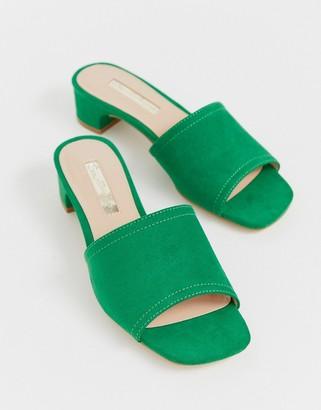 Miss Selfridge mules with low heel in green