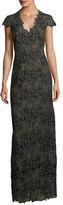 Elie Tahari Meena Metallic Lace Column Gown, Black/Gold