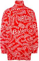 Balenciaga Turtleneck Wave Logo Sweater