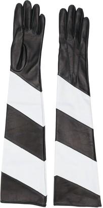 Manokhi Striped Long Leather Gloves
