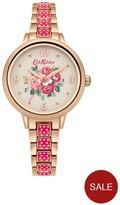 Cath Kidston Garden Rose Creaem Dial Rose Gold Pinky Red Metal Bracelet Ladies Watch
