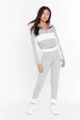 Nasty Gal Womens Don't Sweat It Cropped Sweatshirt and Joggers Set - black - M/L