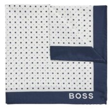 HUGO BOSS Italian Made Pocket Square In Printed Silk - White