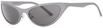 Balenciaga Grey Oval-frame Sunglasses