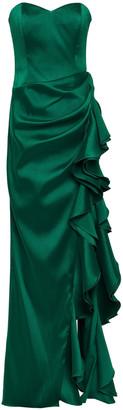 Badgley Mischka Strapless Ruffled Satin-twill Gown