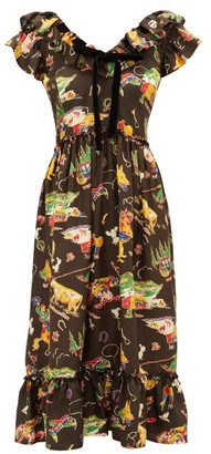 Shrimps Rio Rodeo-print Silk-satin Dress - Black Multi