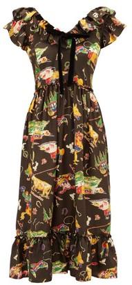 Shrimps Rio Rodeo-print Silk-satin Dress - Womens - Black Multi