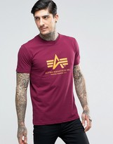 Alpha Industries T-shirt With Logo In Regular Fit Burgundy