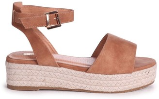 Linzi DYNASTY - Tan Suede Espadrille Inspired Two Part Flatform With Buckle Detail
