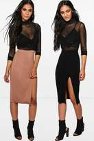boohoo Zaharah 2 Pack Side Split Jersey Midi Skirt