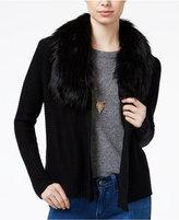 Amy Byer Juniors' Faux-Fur-Trim Cardigan