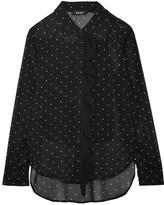 DKNY Ruffled Polka-dot Chiffon Shirt - Black