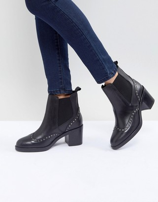 Carvela Stop Leather Studded Ankle Boots-Black