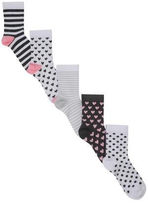 M&Co Love heart socks five pack