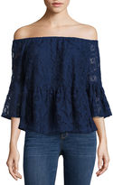 A.N.A a.n.a Off The Shoulder Peplum Lace Blouse