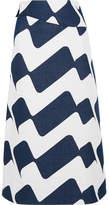 Victoria Beckham Printed Cotton-blend Midi Skirt - Navy