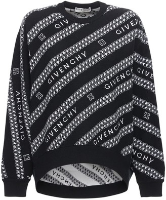 Givenchy Oversize Allover Logo Wool Knit Sweater