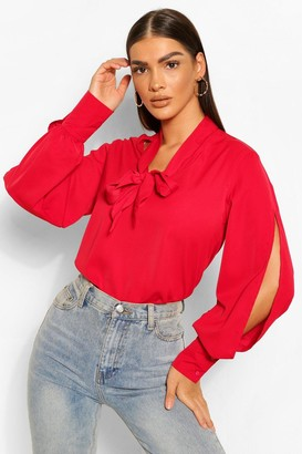boohoo Woven Pussy Bow Split Sleeve Blouse
