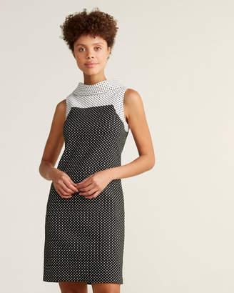 DKNY High Neck Polka Dot Sheath Dress