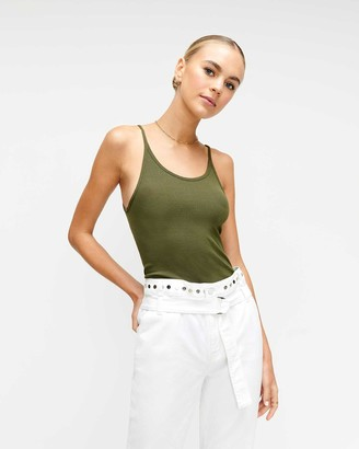 7 For All Mankind Baby Rib Racerback Tank in Military Green