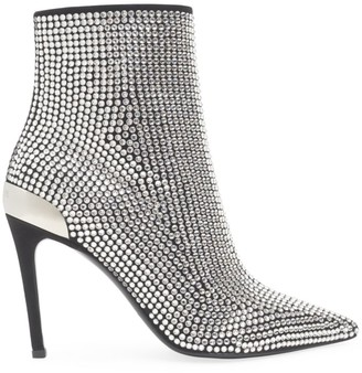 Balmain Crystal-Embellished Leather Ankle Boots